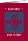 step brother welcome to the family, big floral hug, ornamental style card