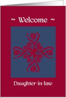daughter-in-law welcome to the family, big floral hug, ornamental style card