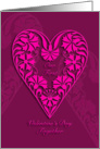 our first valentine's day together, pink floral heart, card