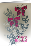 serious birthday with beautiful butterflies card