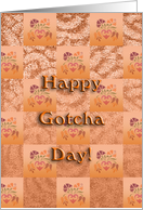 happy gotcha day, decorative mosaic design, ornamental style card