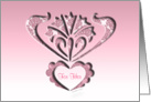 For her on Valentine's Day, cut-out silhouette ornamental style, card