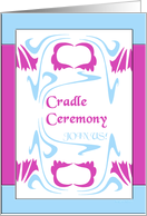 art nouveau design, baby cradle ceremony invitation card
