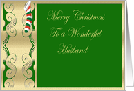 Wonderful Husband, Merry Christmas with stocking card
