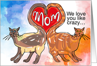 Mom We love you like crazy …Valentine's Day Cats card