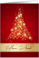 Italian Christmas - Red and gold sparkling Christmas tree card