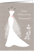 Wedding, Sister Bridesmaid - white gown, flowers on light brown damask card