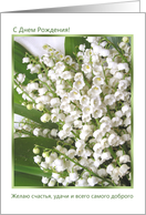 Happy Birthday, Russian - Lily of the Valley card