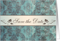 Save the date Engagement party Invitation - Damask blue brown card