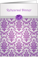 Rehearsal Dinner - Damask pattern purple with amethyst picture card