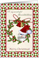 Christmas card for Grandchildren - Santa, bells and holly wreath card