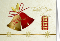Thank you for Christmas gift card - bells. snowflakes and present card