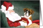 Christmas Boxer and Santa card