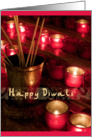 Happy Diwali - Hindu Festival of Lights, golden red burning candles red photography card