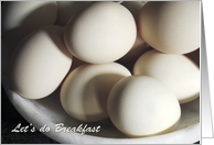 Let's do Breakfast Invitation, close up of eggs photography card