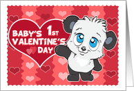 Baby's 1st Valentine's Day Cute Panda and Hearts card
