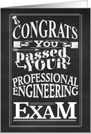 Congratulations Passing Professional Engineering Exam/Chalkboard card