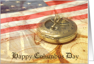 Columbus Day- World Map, Ship, Compass, American Flag Collage card