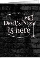 Devil's night is here, spider, creepy background card