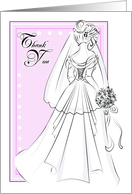 Thank You for Coming to My Bridal Shower- Wedding Gown Ink Drawing card