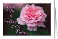 Wishing You a Happy 100th Birthday- Pink Rose Photo Card