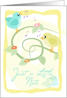 Just a Little Note/ Thinking of You- Musical Birdies card