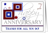 Custom Company Anniversary Card- Red, White and Blue Colors card