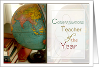 Congratulations Teacher of the Year- Antique Globe and Books card