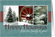 Happy Holidays from our family to yours-Pine Trees and Snow Photos card