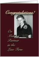 Congratulations Partner in Law Firm Retro Woman card