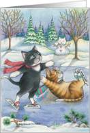 Cats Ice/Figure Skating Christmas (Bud & Tony) card