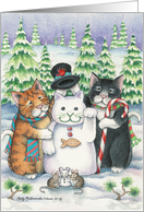 Cats W/Snowman & Mice Christmas (Bud & Tony) card