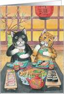 Cats Eating Sushi Birthday (Bud & Tony) card