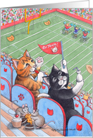 Cats At Football Stadium Birthday (Bud & Tony) card