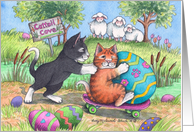 Cats Easter Egg Roll (Bud & Tony) card