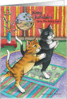 Cats Doing Yoga In Prayer Birthday (Bud & Tony) card