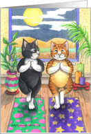 Yoga Cats Birthday (Bud & Tony) card