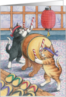 Taiko Drumming Cats Announcement (Bud & Tony) card