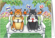 Cats Texting 21st Birthday (Bud & Tony) card