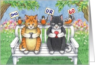 Cats Texting 60th Birthday (Bud & Tony) card
