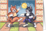Cats Martial Arts Congratulations(Bud & Tony) card