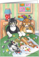 Jigsaw Puzzle Cats Birthday (Bud & Tony) card