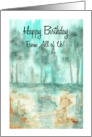 Happy Birthday From All, Abstract Landscape Art, Rustic Trees Painting card