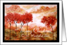 Merry Christmas to Boss, Abstract Landscape Art, Red Trees Painting card