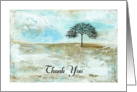Thank You, Abstract Landscape Art, Skinny Tree Silhouette, Snow Storm card