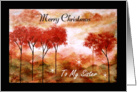 Merry Christmas Sister, Abstract Landscape Art, Red Trees Painting card