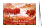 Merry Christmas Sister and Family, Abstract Landscape Art, Red Trees card