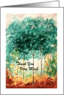 Thank You, Abstract Landscape Art, Skinny Trees Park Painting card