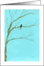 I Miss You, Black Bird in Tree, From Original Art Painting card