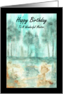 Happy Birthday Mentor, Abstract Landscape Art, Trees Painting card